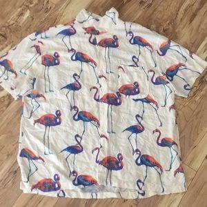 Flamingo button up men's tee shirt size XXL cream